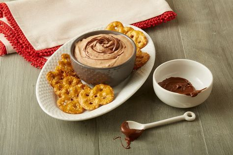 Banana Hazelnut-Cocoa Dip Recipe Appetizers with Stacy's Simply Naked Pretzel Thins, bananas, Nutella, cool whip