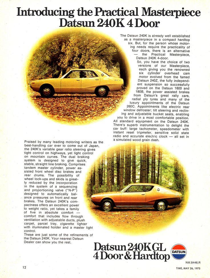 https://flic.kr/p/YrpsWb   1975 Datsun 240K GL 4 Door & Hardtop Nissan Aussie Magazine Advertisement