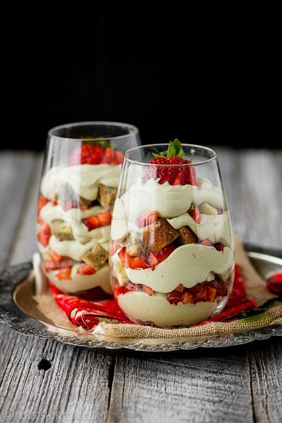 Green tea & strawberry parfait