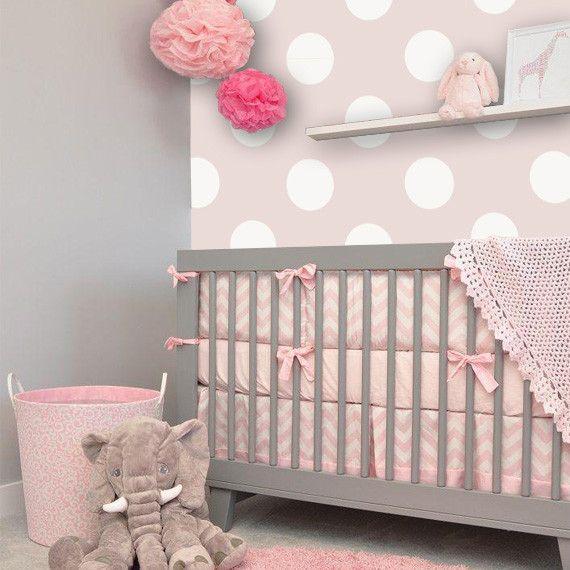 Polka Dot Off-White/ Pink Removable WallPaper