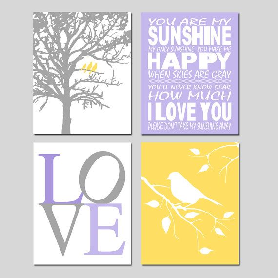 Lavender Purple Yellow Gray Nursery Art Quad You Are by Tessyla