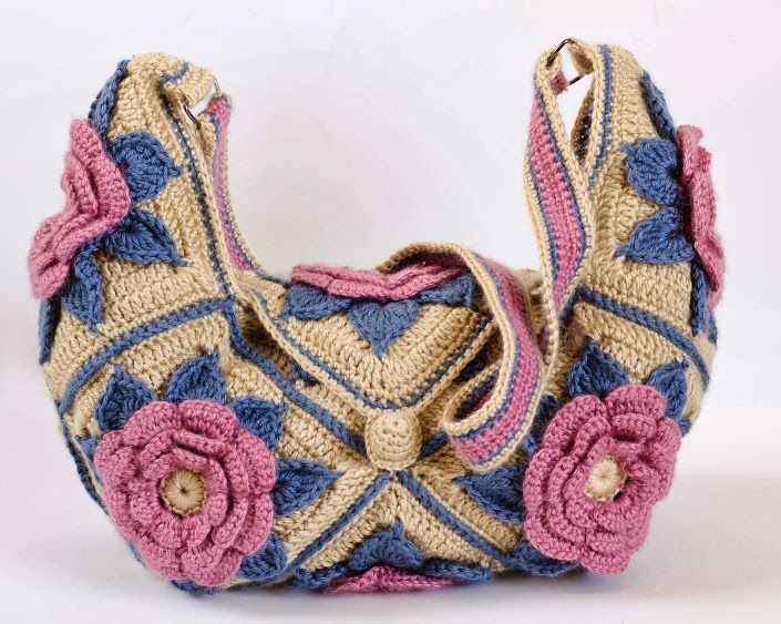 Outstanding Crochet: Granny Square Flower Bag. Tutorial/pattern Moss ༺✿ƬⱤღ https://www.pinterest.com/teretegui/✿༻