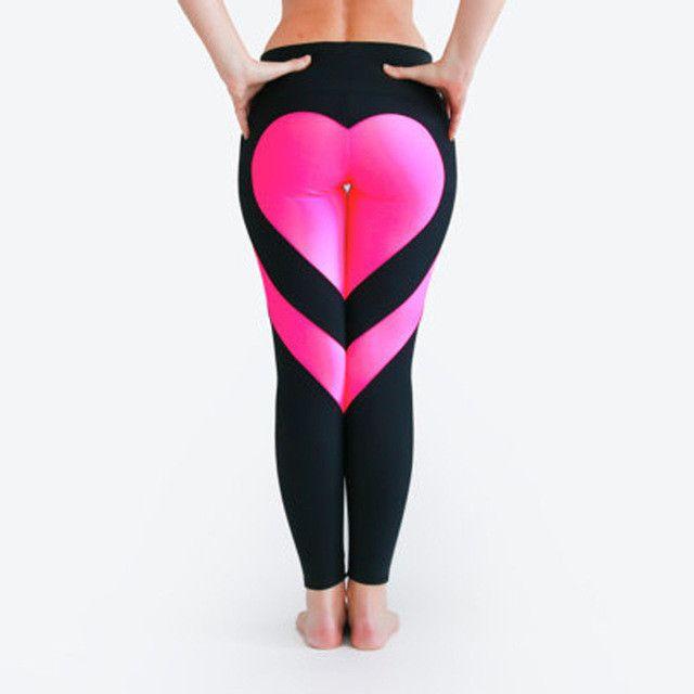 Fitness Leggings Material: Heart Pattern Mesh Splice Legging