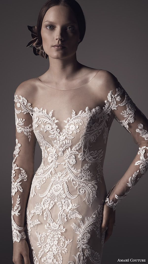 amare couture ss 2016 long sleeves illusion jewel sweetheart neckline fully embellished lace white ivory caramel color elegant dramatic fit flare wedding dress sheer back sweep train (harper) zv