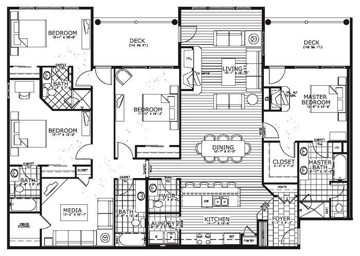 Best 25 condo floor plans ideas on pinterest apartment for Four bedroom flat floor plan