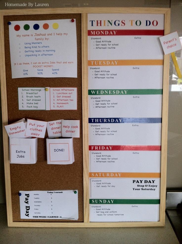 Love this idea! It's a homemade chore chart!