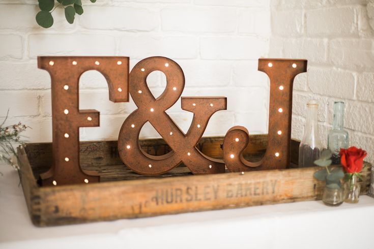 Letter Lights Industrial Rustic Decor Luxe Copper & Red Wedding Ideas http://www.danielle-smith-photography.com/