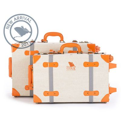 Streamline luggage- beautiful vintage style with the modern convenience of roller wheels.