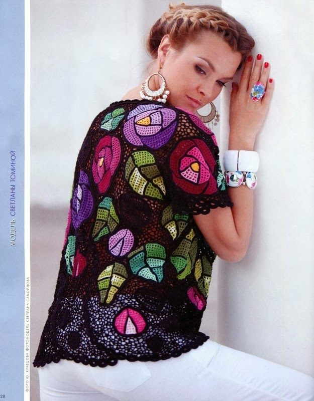 http://crochelinhasagulhas.blogspot.ru/2014/03/vestido-colorido-de-croche-irlandes.html