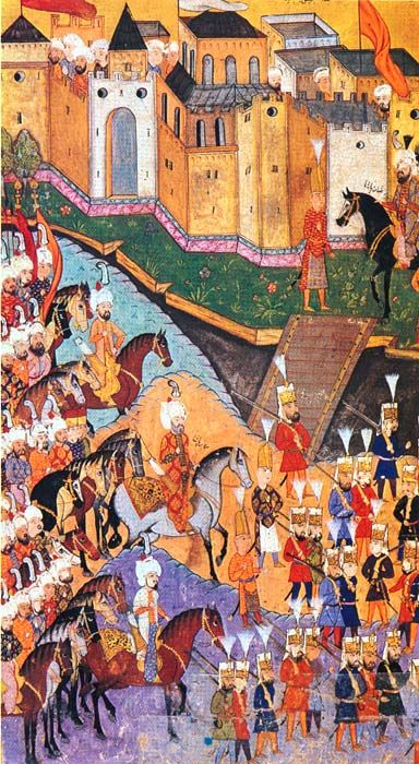 The romantic scenes of landscaping in Persian miniatures were simplified in Ottoman miniature by the reducing detailed landscape scenes to plain backgrounds. Human figures, buildings, and other main elements of the subject predominated. In classical Turkish miniatures, lines are straight, colours are vivid and the style is narrative. Miniature art is known for its strongly-built heroes, simplicity, selection of themes from real life and the powerful concept of colour.