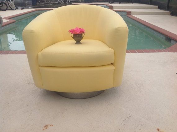 chrome base milo baughman style swivel club chair yellow mid century modern style at