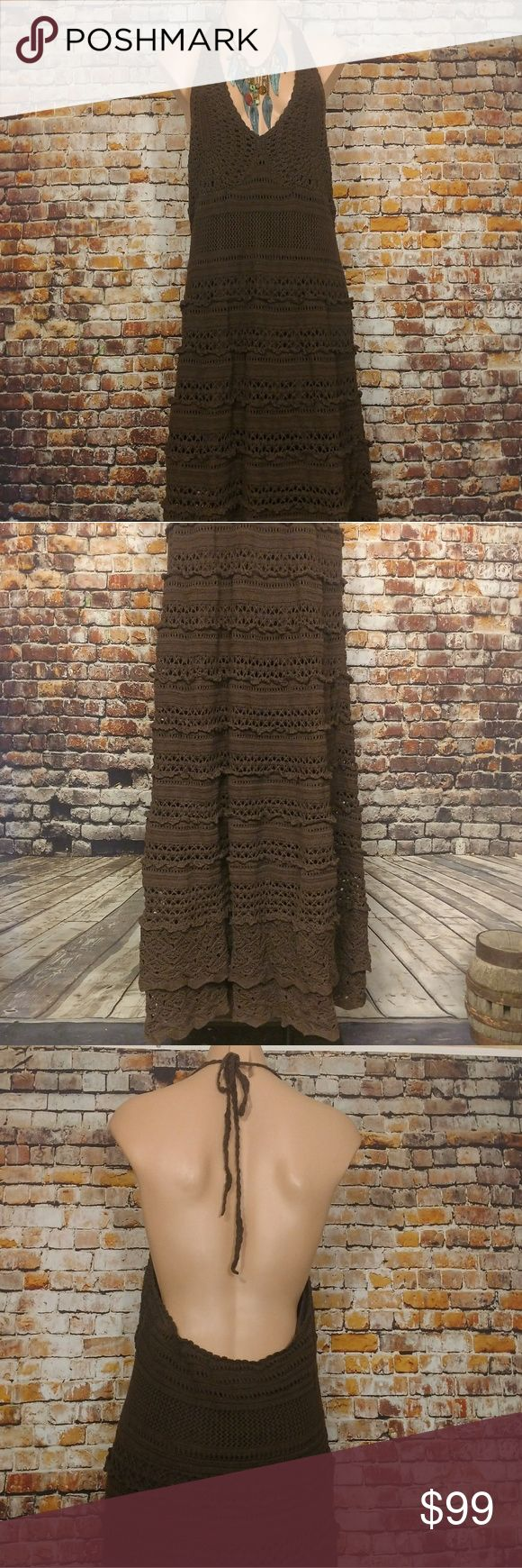 "Boho Crochet Halter Maxi Dress XL Fantastic Bohemian, Gypsy, Festival halter maxi dress. Ties behind neck, open back, partially lined. Dark brown. Size XL.  36"" chest unstretched, 61"" long from top of halter where ties start, 32"" long lining. Unique, One of a kind, Spell Dresses Maxi"