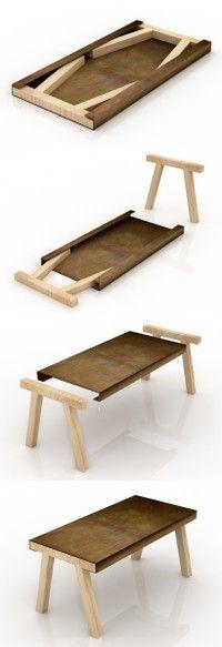 """mastro""是一个小型家具,它的灵感来自于传统工匠工作室中的旧工作台或凳子。桌面是用酸蚀铁板材料制作的,两侧各有一个槽,内部可以放两个杉木支架,节省空间便于储存。这两个木桌腿很容易抽出,简单的插接在铁皮桌面上即可使用。尺寸:80 x 160 x 75 cm。设计者:gum design"