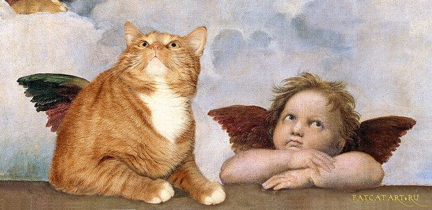 """The bottom bit of Raphael's """"Sistine Madonna"""" from the Sistine Chapel.   17 Classic Works Of Art Improved By A Fat Ginger Cat"""