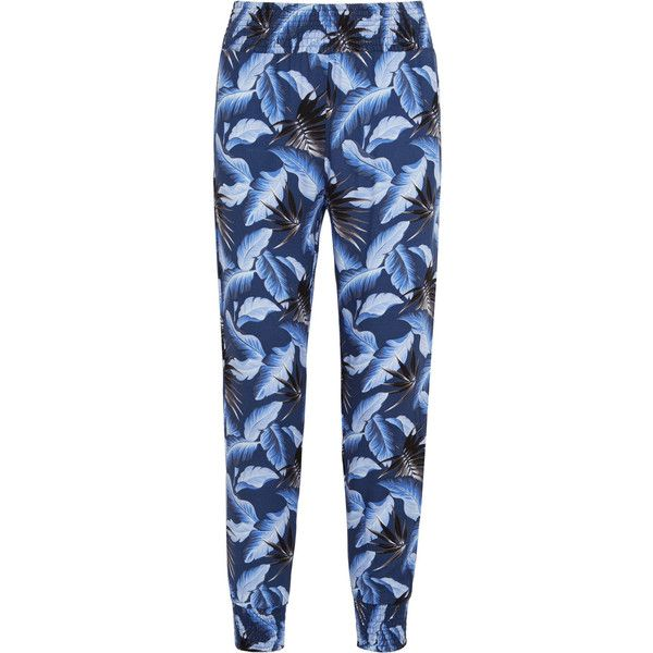 Mikoh Kahuku printed crepe pants (163 AUD) ❤ liked on Polyvore featuring pants, bright blue, crepe pants, mikoh, cuffed pants, pull on pants and multi color pants