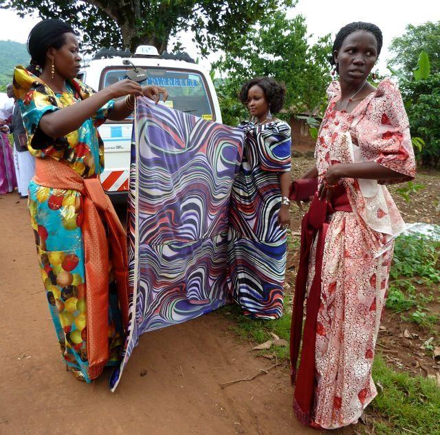 Ladies Wrapping A Ugandan Busuti (or Gomez) Dress