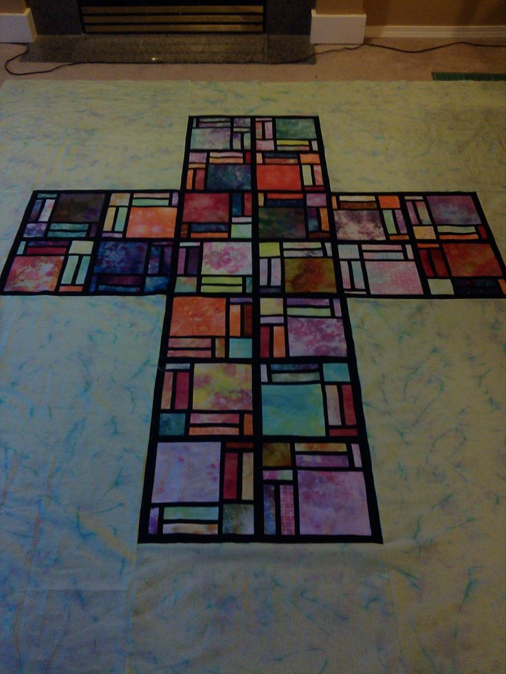 Classroom Quilt Ideas ~ Stained glass cross quilt sewing pinterest quilting