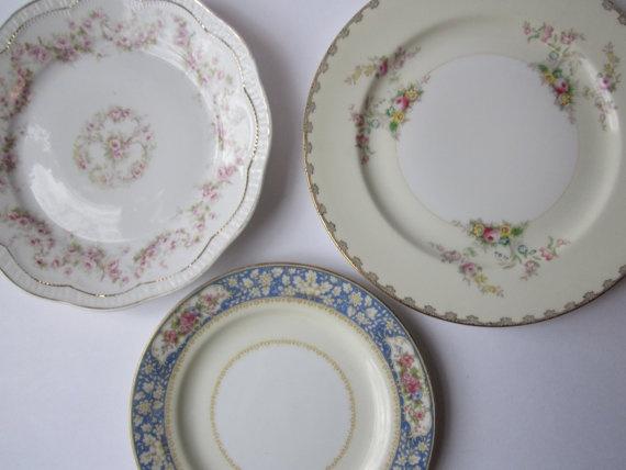 RESERVED ITEM Vintage Floral Plate Trio Bavarian von jenscloset