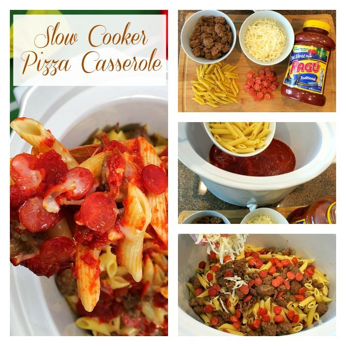 Slow cooker pizza casserole recipe that's easy to make.