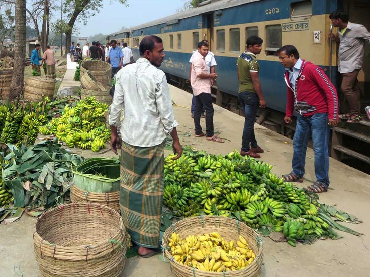 Bananas are sold of the platforms of railway stations between Rajshahi and Khulna, Bangladesh.
