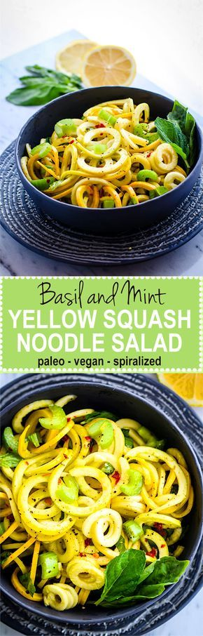 Simple, healthy, nourishing! Paleo and Vegan Basil Mint Yellow Squash Spiralized Salad. A naturally gluten free veggie noodle salad bursting with flavor, nutrients, and color.