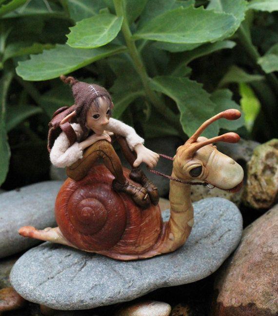 OOAK elf sculpture polymer clay art doll garden by Feythcrafts