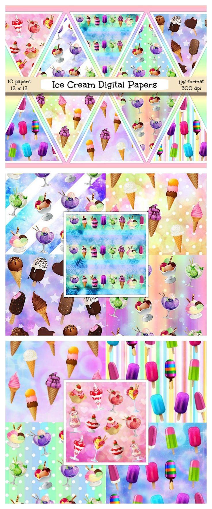 Scrapbook paper kawaii - Ice Cream Digital Paper Ice Cream Scrapbook Papers Ice Cream Textures Ice Cream Backgrounds Summer Pastel Paper Kawaii Papers Scrapbooking