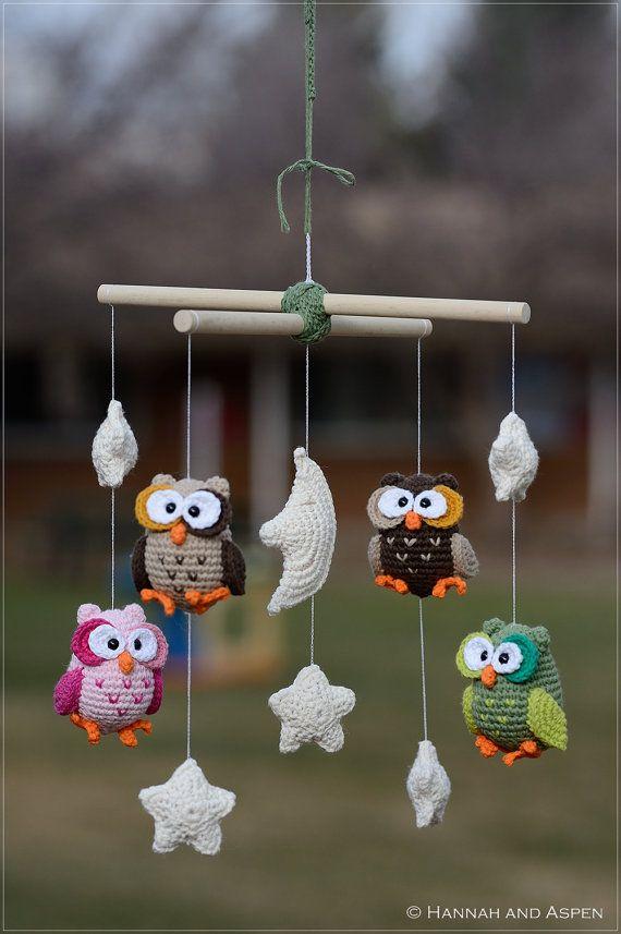 Night Owl crochet mobile Nursery mobile by HannahandAspen