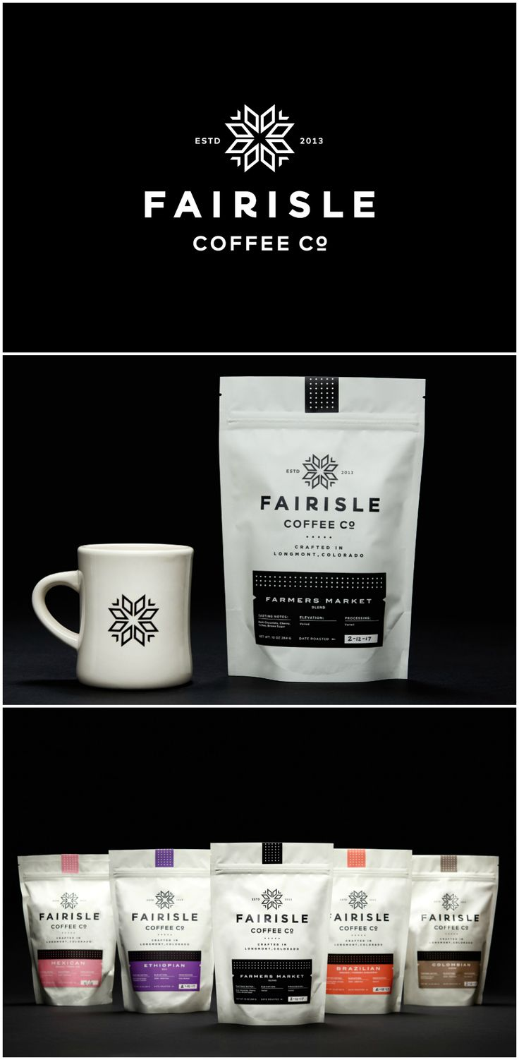 Visual Identity and Packaging Design System Created for Coffee Brand in Colorado, USA Design Agency: Steve Wolf Designs Brand / Project Name: Fairisle Coffee Co. Location: United States America Category: #drink #coffee #beverage