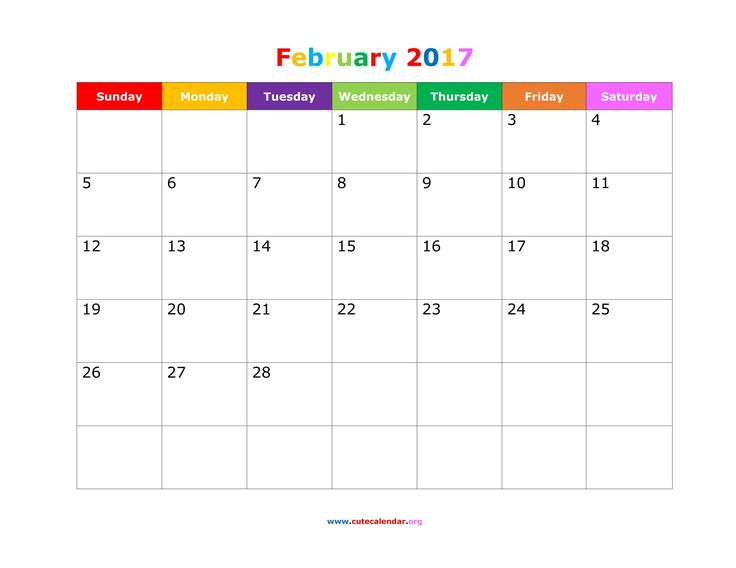 Download cute template for february 2017 calendar with US federal holidays, space for notes in Word, PDF, JPG.
