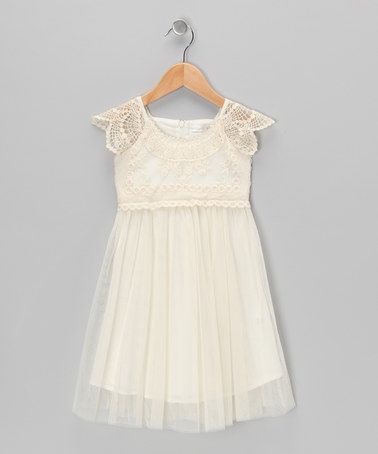 Take a look at this Cream Crocheted Tulle Dress - Toddler & Girls on zulily today!