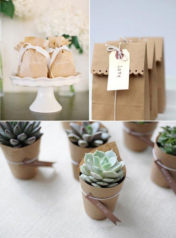 brown paper wedding favours / http://www.himisspuff.com/kraft-paper-wedding-decor-ideas/
