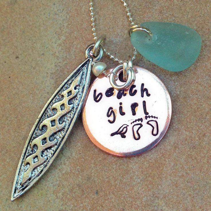 Surfer Girl Necklace, Surf Board Necklace, Sea Glass Necklace, Beach Girl Necklace, Ocean Necklace, Surfer Girl, nataashaloha by natashaaloha on Etsy