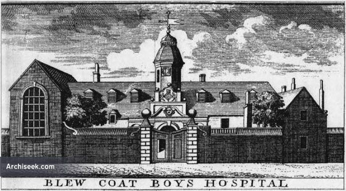 King's Hospital or Bluecoat School, was erected between 1669 and 1673, Oxmantown Green, demolished to make way for a new building, now the Law Society of Ireland.