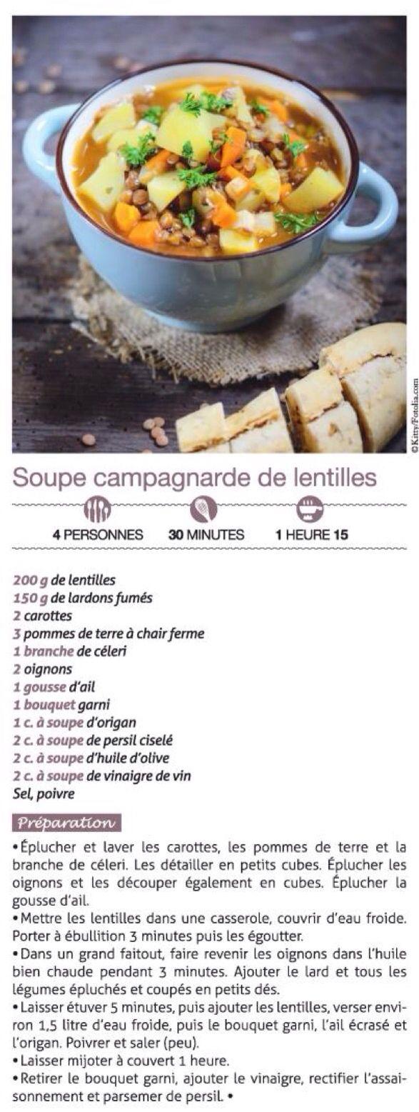 Soupe campagnarde de lentilles