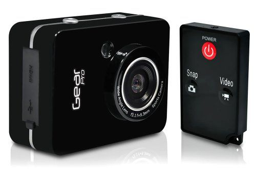 Gear Pro HD 1080P Action Camera Hi-Res Digital Camera/Camcorder with Full HD Video, 12.0 Mega Pixel Camera and 2.4'' Touch Screen (Black Color) | Action Cameras And Accessories