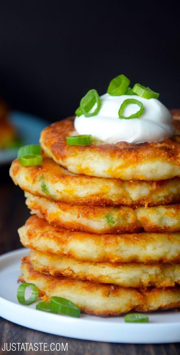 Cheesy Leftover Mashed Potato Pancakes #recipe from justataste.com