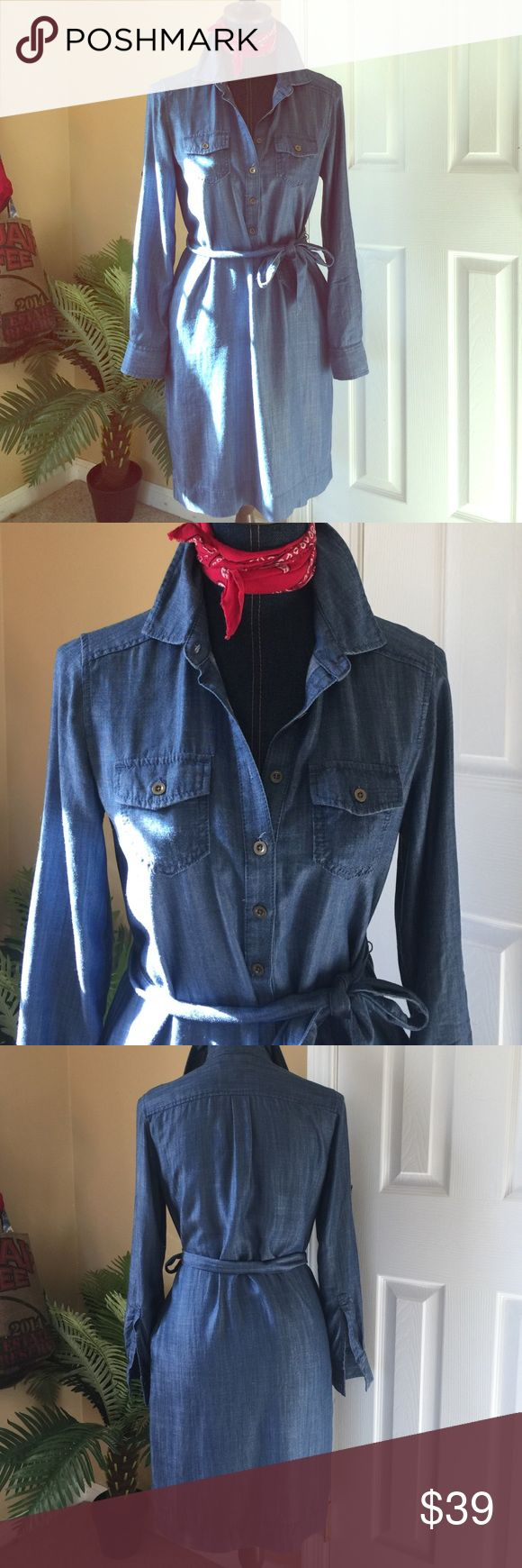 Banana Republic Denim Shirt Dress 💯 Lyocell Classic shirt dress style with belt. It is 100% lyocell fabric, belted and has 2 side pockets.  No stretch or give so it holds its shape nicely. Size 2 but could fit a 4 also. Banana Republic Dresses