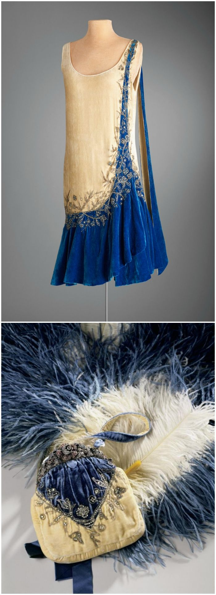Marjorie Merriweather Post's evening dress and purse, made by Mme. Frances, Inc., New York, 1924-27, Hillwood Estate, Museum & Gardens. Other accessories include a matching slip, cape and fan. Silk velvet, rhinestones.