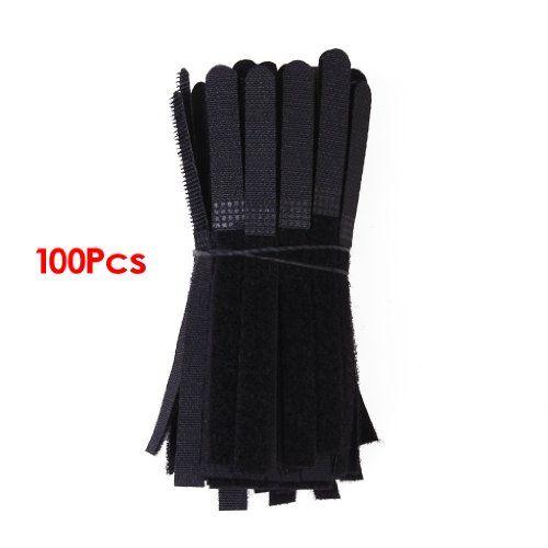 Environ 100pcs Attaches-câble Sangles Velcro - Noir SODIA…