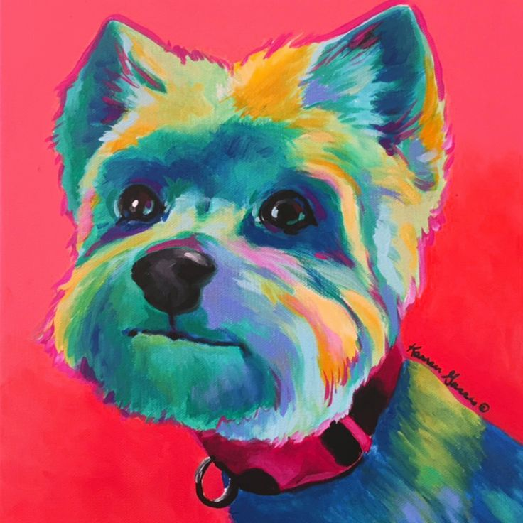 Acrylic On Canvas Pop Art Painting Of A Yorkie. Colorful