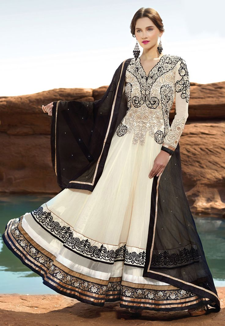 Off White Faux Georgette Abaya Style Churidar Kameez Online Shopping: KMR112