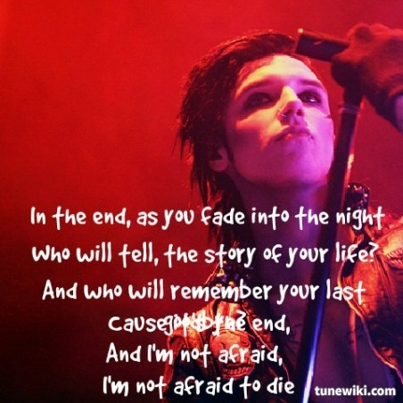 Lyric Art of In The End by Black Veil Brides | Music ...