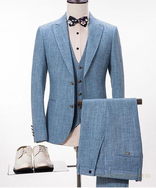 Linen Wedding Suits Plus Size 3-Piece Men's Suits Light Blue #menssuitsblue #menssuitsvintage