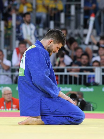 #RIO2016 Cyrille Maret of France celebrates his victory after the final Judo men's 100kgs at Carioca Arena 2 during Day 6 of the 2016 Rio Olympics on August...