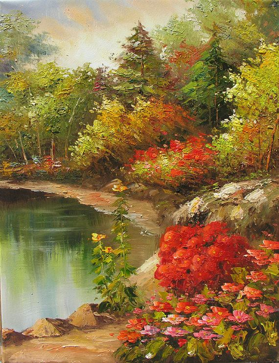 The MADE-TO-ORDER painting will be similar to the one you see here, that I have already sold. Time frame to create it is 4 business days. The painting will be signed by me and shipped directly from my studio. Paintings name : Romantic Hideaway Technique : palette knife, deep texture Style : Impressionism Size : 24 x 30 Medium : Oil Material : Stretched wrapped canvas. The staples-free sides of the canvas are painted. No need to frame it - just hang it. By Marchella zz