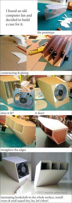 The wind of changes ... in electronics cardboard  with computer fan Cardboard book cloth