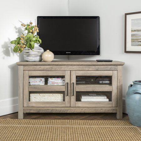 Walker Edison Wood Corner TV Stand for TV's up to 48 inch – Grey Wash Size: 23 inch H x 44 inch W x 16 inch Large