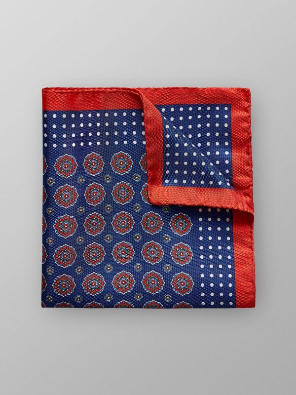 Navy Floral Silk Pocket Square