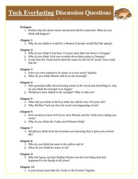 Tuck Everlasting! Tuck Everlasting Reading Discussion Questions Activity. Attached are over 40 reading discussion questions that you can use with the book Tuck Everlasting by Natalie Babbitt. These questions are open-ended and require 4th, 5th, 6th and 7th grade students to use higher level thinking on Bloom's Taxonomy. Many of the questions put the students in the situations of the main characters. The questions are broken down by chapters.